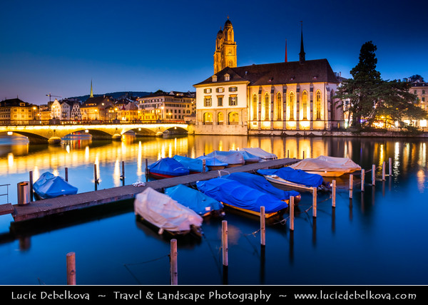 Europe - Switzerland - Swiss - Zurich - Zürich - Limmat River & Old Town at Dusk - Twilight - Night - Blue Hour