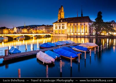 Europe - Switzerland - Swiss - Zurich - Zürich - Limmat River & Old Town at Dusk - Twilight - Night - Blue Hour