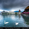 Europe - Switzerland - Swiss -  Lucerne - Luzern - Historical Altstadt - Old Town with well preserved medieval architecture located amid snowcapped mountains on Lake Lucerne - Kapellbrücke - Chapel Bridge - Iconic covered wooden footbridge spanning diagonally across Reuss River