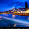Europe - Switzerland - Swiss -  Lucerne - Luzern - Historical Altstadt - Old Town with well preserved medieval architecture located amid snowcapped mountains on Lake Lucerne at Dusk - Twilight - Night - Blue Hour