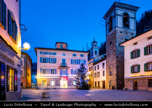 Europe - Switzerland - Swiss - Graubünden Canton - Grisons - Alps - Alpen - Alpi - Alpes - Great Mountain Range in Europe - Poschiavo - Alpine town with imposing Renaissance style of its 19th century architecture located in Val Poschiavo