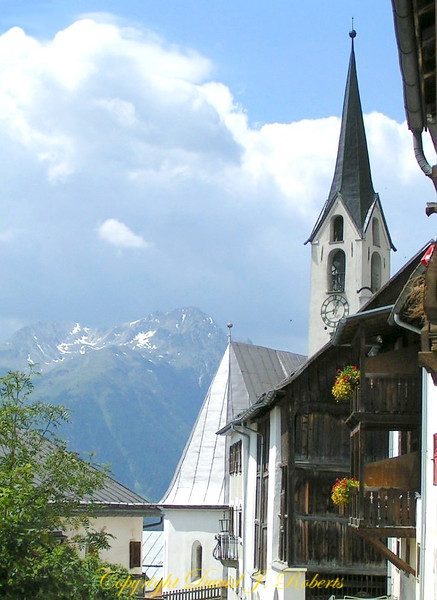 Church and view from Guardia, Switzerland