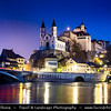 Europe - Switzerland - Swiss - Aargau Canton - Aarburg - Historic old town in narrow section of Aare valley at confluence with Wigger river, with dominant landmark of Aarburg fortress (Festung Aarburg) on steep rocky outcrop, one of Switzerland's largest castles & heritage site of national significance
