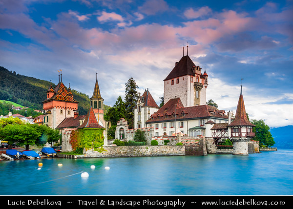 Europe - Switzerland - Swiss - Canton of Bern - Oberhofen Castle - Schloss Oberhofen am Thunersee - Romantic castle with its impressive medieval keep and picturesque turret situated on the shores of beautiful Lake of Thun