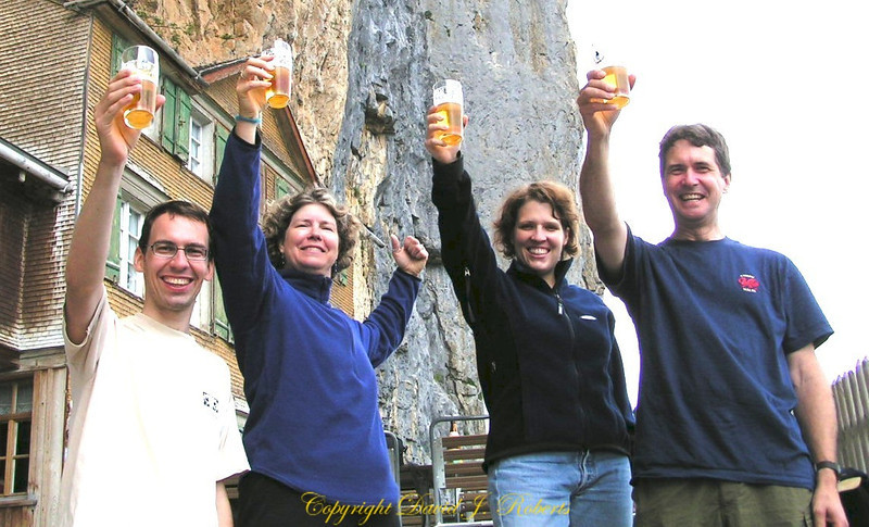 A toast among friends at Ebenalp, Switzerland