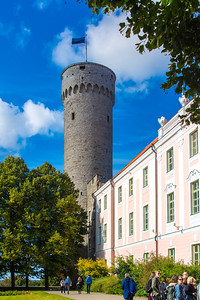 Tall Hermann tower of the Toompea Castle. Tallest tower in Old Town