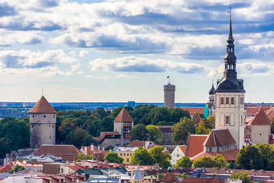 View of the Tallinn Wall (Kiek in de Kök, Maiden's Tower, Tall Hermann) and St. Nicholas Church in front of Alexander Nevski Cathedral