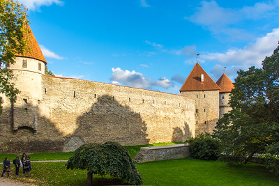 Part of the wall around Tallinn Old Town. To the far right is the Kiek in de Kök (Peep into the Kitchen) because the guards could see into people's kitchens.