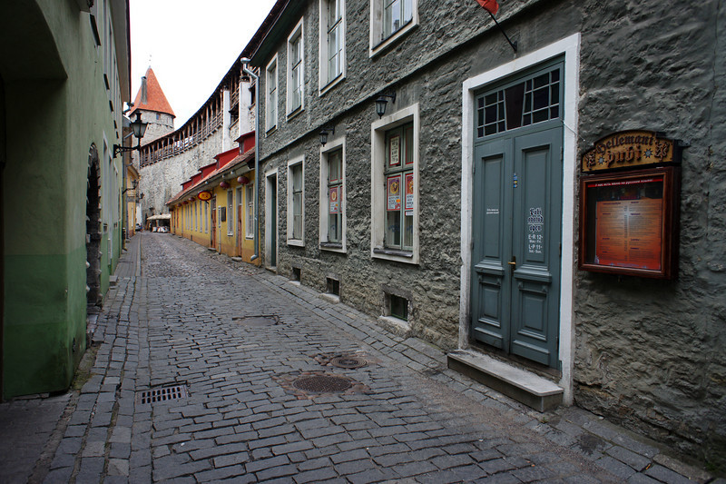 A street along the old castle wall - Tallinn, Estonia