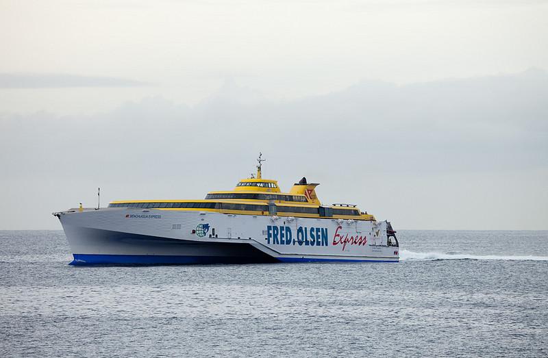 "Fred Olsen Express ferry ""Benchugua Express"" operating Los Christianos/Tenerife - San Sebastian/La Gomera."