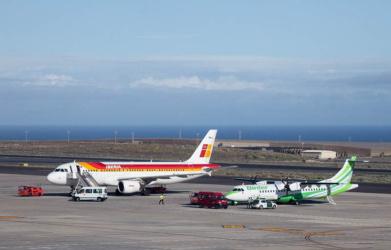 Iberia and Binter planes at Tenerife airport.