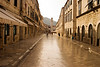 The Strada is the main shopping street and gathering area in the city of Dubrovnik in Croatia but before 8am it is still virtually empty of people. The cobblestones have been polished smooth over hundreds of years.