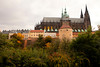 A view of the back of Prague Castle with the imposing Gothic-style architecture of St. Vitus Cathedral.