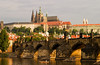 A view of the Prague Castle and the Charles Bridge from across the Vltava River.