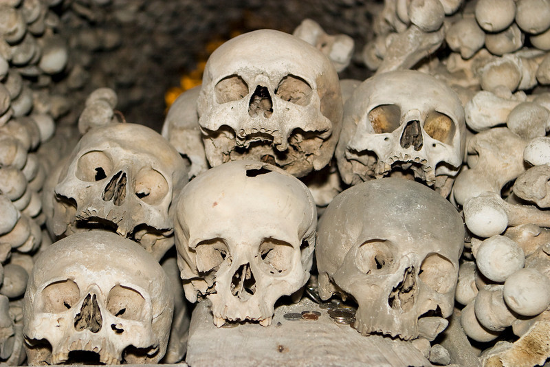 Six human skulls are piled on top of each other in a ossuary (or bone church) located in the Czech Republic. A scary image for Halloween!