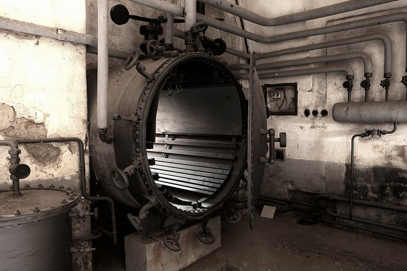 Various machinery in the laundry and boiler room in the Little Fortress of the Terezin concentration camp in the Czech Republic.
