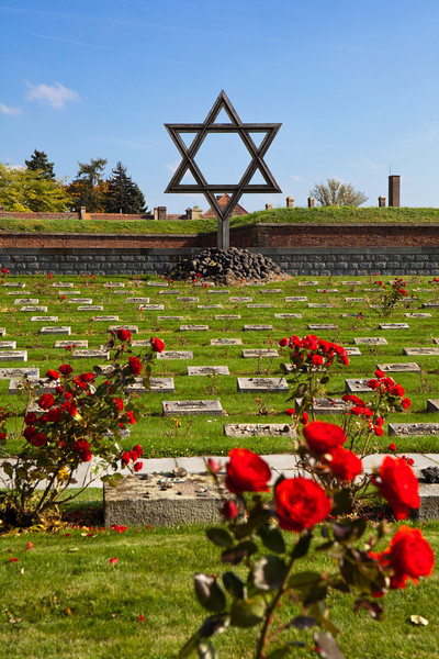 The Jewish Memorial at the Terezin cemetery is a remembrance to the Jews who died at the World War II German prison camp in Czechoslovakia. The graves are marked with rose bushes.