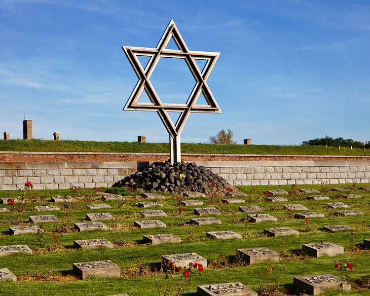 A Star of David (Magen David) standing at a memorial graveyard at the Little Fortress in Terezin (Theresienstadt) in the Czech Republic serves as a reminder of the Jews that lived and died in World War II.
