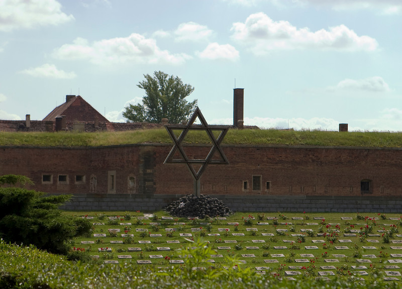 The Holocaust memorial at Terezin (Theresienstadt) in the Czech Republich is located in front of the old prison walls.
