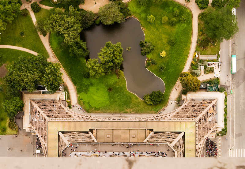 The park at the base of the Eiffel Tower as seen from the top of the structure.