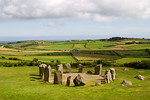 An ancient stone circle at Dombeg in County Cork in the southern part of Ireland. Stone circles were characteristic of the Bronze Age Celtic culture. Stone circles were often used for astron ...