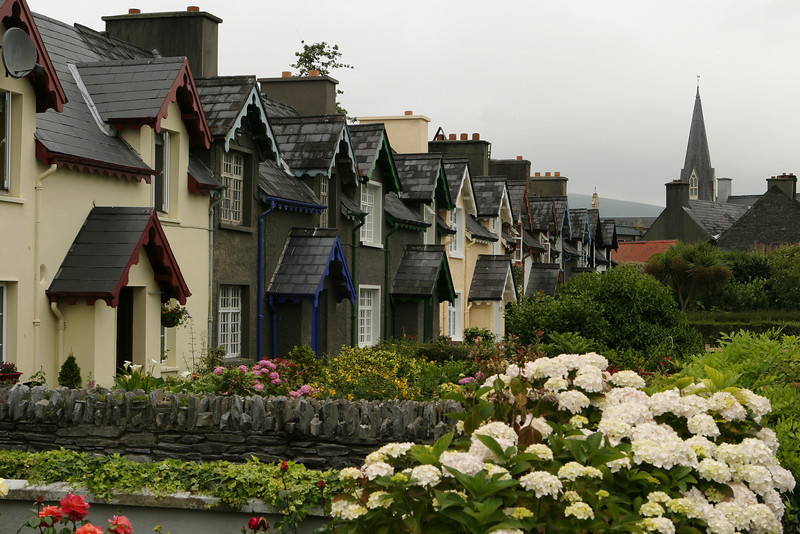 A row of homes in Ireland on a small village lane. These row houses are painted with bright colors around the doors and windows and are highlighted in front by the tidy flower gardens that are separated by little rock walls. The village church spire is in the background.