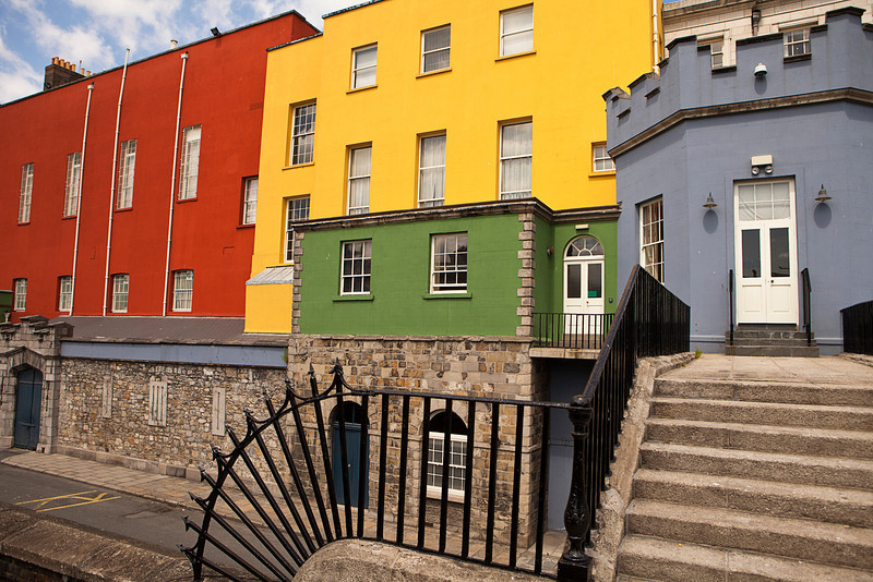 The back portion of Dublin Castle near the Chester Beatty Library is painted in bright colors.