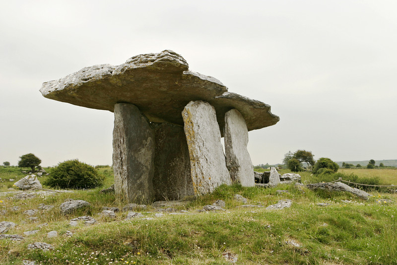The stone table at Poulnabroun is an ancient Celtic relic that was actually built as a tomb. Also known as a dolmen, the enormous slabs of rock were built to protect the dead from the elements. On this overcast and gloomy day, the stone table dominated the landscape.