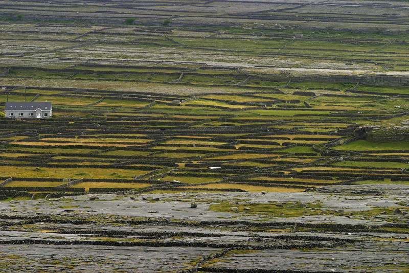 The Irish have built stone walls to separate fields in lieu of fences as well as to clear the fields of rocks for thousands of years. This view shows part of the way that the network of rock walls has covered almost all of the Aran Islands that are just to the west of Ireland.