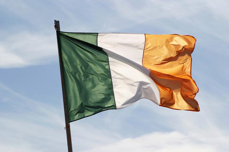 The Irish flag waving in a stiff breeze on the Aran Islands.
