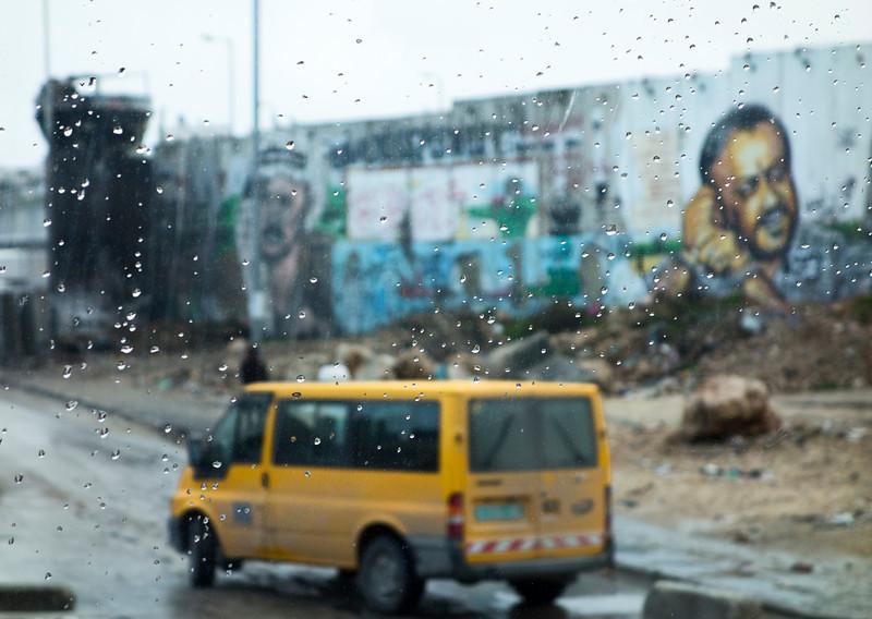 West Bank Mural Through Window
