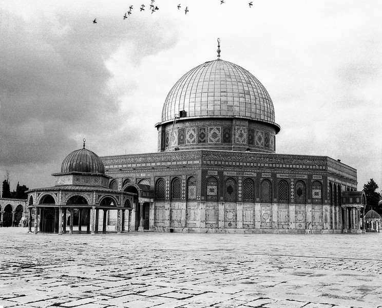 Dome Of The Rock With Black Birds
