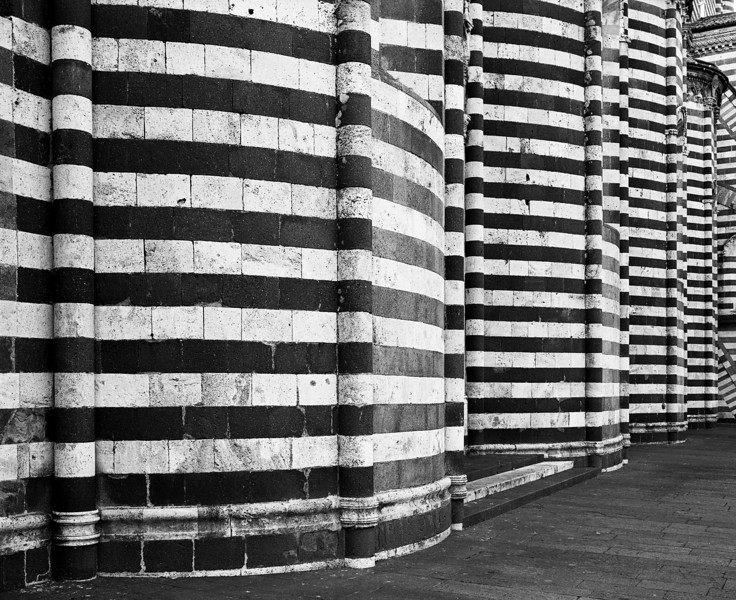 A nearly abstract view of the exterior walls of the classic cathedral in Orvieto in Umbria. (Scanned from black and white film.)