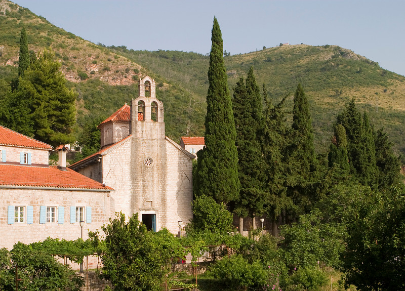 The old stone monastery at Praskvica in Montenegro is a peaceful scene in the coast hills near Budva and Sveti Stefan.