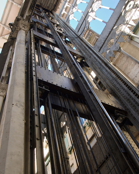 "The Santa Justa elevator, also known as the ""Elevator of Carmo,"" was built to connect downtown Lisbon to Bairro Alto. It is 45 meters (147ft) high, and remains an interesting example of post-Eiffel Tower iron architecture."