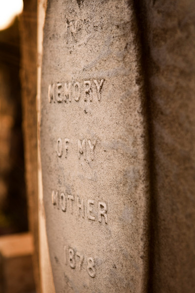 A anonymous gravestone in an the Calton New Cemetery in Edinburgh is simply titled In Memory Of My Mother, 1878. (Photographer's Note:  Shallow depth of field in this photo.)