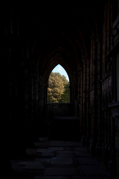 A view through the ruins of Holyrood Abbey towards a window framed in the gothic arch. This is a landmark building attached to Holyrood House in Edinburgh, Scotland.