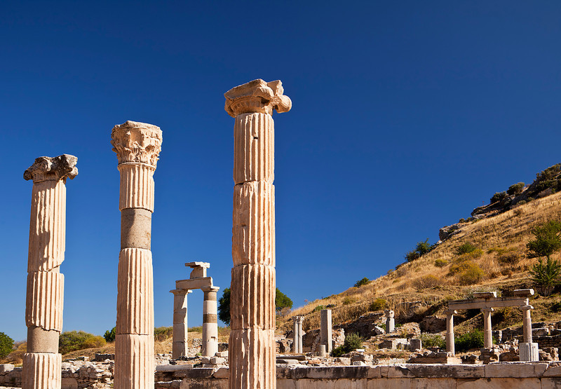A few pillars standing in part of the forum at Ephesus are part of the ruins that remain to be seen.