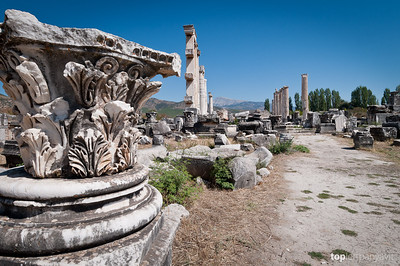 Remains of building columns and capitals in Aphrodisias
