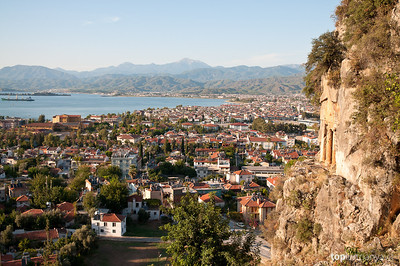 Views of Fethiye from the Lycian tombs on the cliffs behind the city