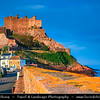 Europe - Channel Islands - Island of Jersey - Jèrriais - Bailiwick of Jersey - British Crown dependency - Gorey - Traditional picturesque village in the parishes of St. Martin and Grouville on the east coast of Jersey - Mont Orgueil Castle overlooking the harbour of Gorey