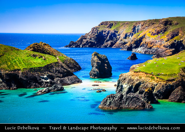 Europe - UK - England - Cornwall - Lizard peninsula - Kynance Cove - Porth Keynans - Cove on eastern side of Mount's Bay - One of the most beautiful stretches of coastline in the South West - Number of small tidal islands and stacks on crystal clear turquoise colored beach
