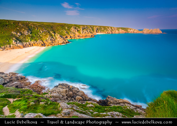 Europe - UK - England - Cornwall - Porthcurno, Logan Rock and Pednvounder Beach