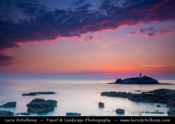 Europe - UK - England - Cornwall - Godrevy Lighthouse - Iconic Lighthouse standing 300 metres (980 ft) off Godrevy Head on Godrevy Island in St Ives Bay during summer sunset