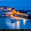 Europe - UK - England - Cornwall - St Ives - Porth Ia - St Ia's cove - Seaside town & Historic Harbour on Cornish coastline - Popular holiday resort - Twilight - Blue Hour - Dusk - Night