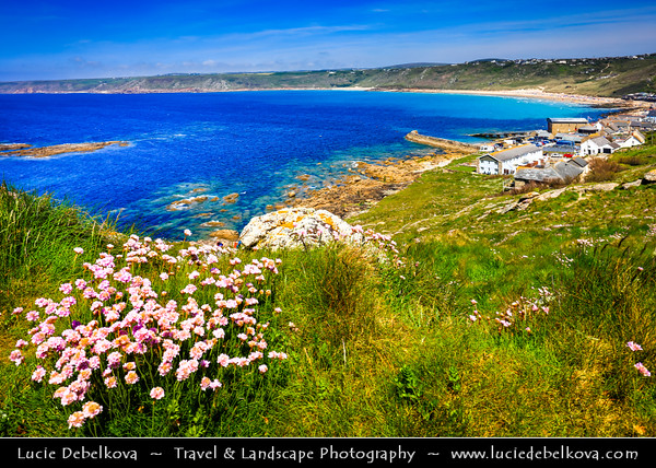 Europe - UK - England - Cornwall - Sennen Cove, Porthsenen - Small coastal village next to Land's End - Mainland Britain's most westerly point and one of the country's most famous landmarks, with 200 foot high granite cliffs that rise out of the Atlantic Ocean