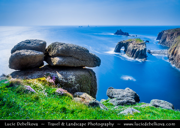 Europe - UK - England - Cornwall - Land's End - Penn an Wlas - Pedn an Wlas - Mainland Britain's most westerly point and one of the country's most famous landmarks, with 200 foot high granite cliffs that rise out of the Atlantic Ocean