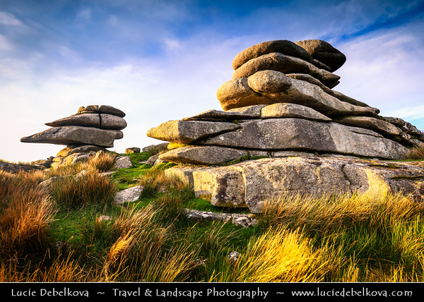 """Europe - UK - England - Cornwall - Bodmin Moor - Cheesewring (Keuswask) near Minions - Granite tor on Stowe's Hill - Natural geological formation, rock outcrop of granite slabs formed by weathering. The name derives from resemblance of  piled slabs to """"cheesewring"""", press-like device that was once used to make cheese"""