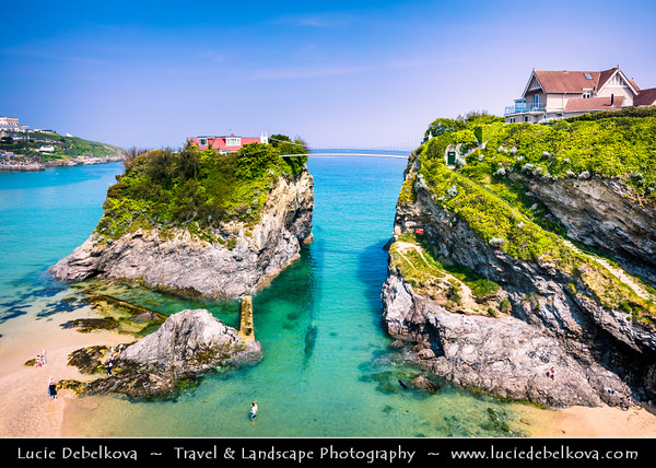 Europe - UK - England - Cornwall - North Cornish Coast - Newquay - Lonely house on Towan Island connected to mainland by 100ft foot suspension bridge