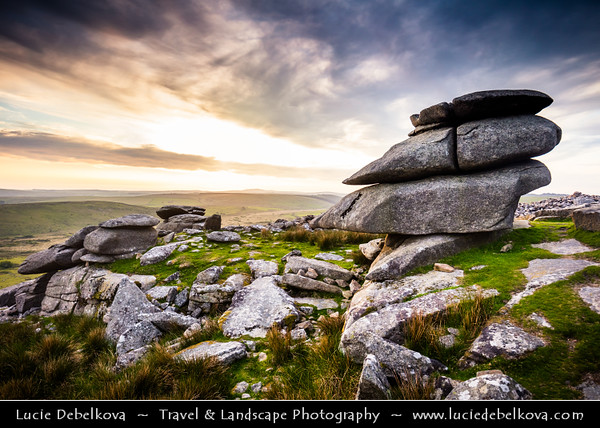 "Europe - UK - England - Cornwall - Bodmin Moor - Cheesewring (Keuswask) near Minions - Granite tor on Stowe's Hill - Natural geological formation, rock outcrop of granite slabs formed by weathering. The name derives from resemblance of  piled slabs to ""cheesewring"", press-like device that was once used to make cheese"